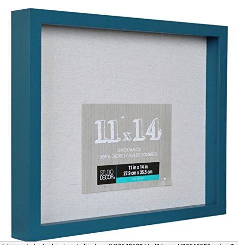 11x14 Teal Blue Shadow Box Display Case Heavy Wood Frame 1' working depth (Teal) Nursery Wedding Graduation Memory Box Generic