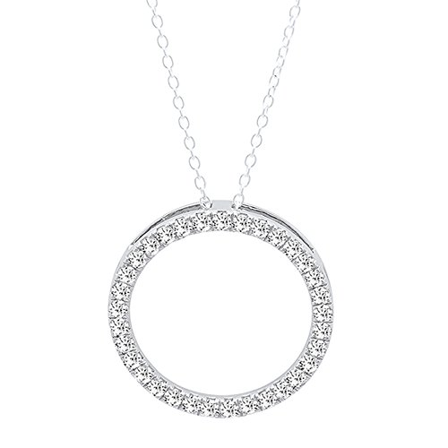 Dazzlingrock Collection 0.50 Carat (ctw) 10K Round lab Grown White Diamond Ladies Circle Pendant 1/2 CT, White Gold (Silver Chain Included)