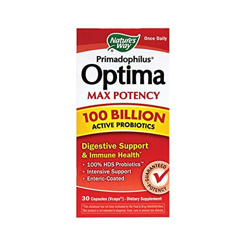 Nature's Way Primadophilus® Optima Max Potency 100 Billion Active Probiotics Digestive Support & Immune Health, 30 Enteric Coated Vcaps (Refrigerate to maintain maximum (Best Nature's Way Probiotics For Women)