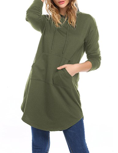Locryz Women's Long Sleeve Casual Tunic Sweatshirt Hoodie Dress with Kangaroo (Pockets Cotton Womens Hoodie)