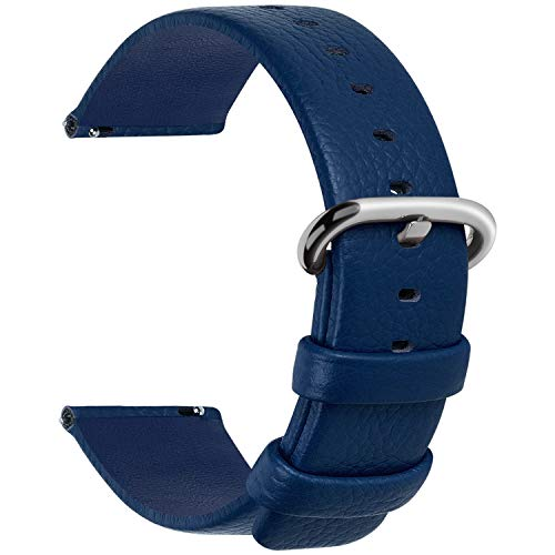12 Colors for Quick Release Leather Watch Band, Fullmosa Uli Genuine Leather Watch Strap 20mm Dark Blue