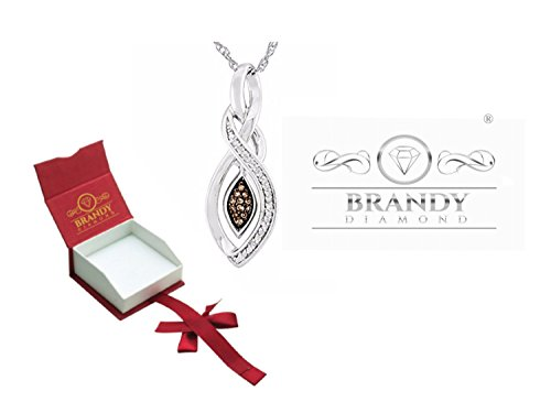 Brandy Diamond Chocolate Brown Silver Teardrop Marquise Pendant Necklace 1/3 Ctw. (Chocolate Pendant Diamond)