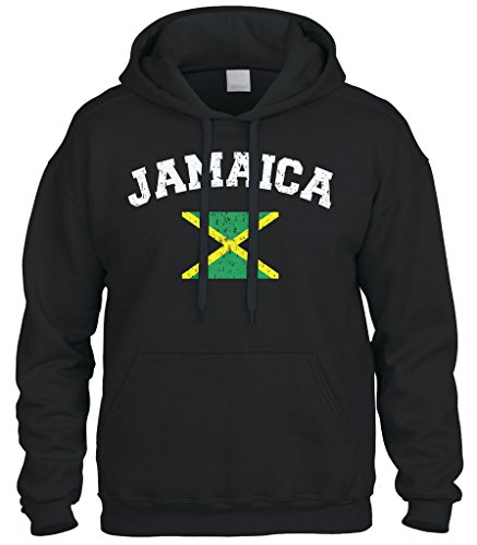 (Cybertela Faded Distressed Jamaica Flag Sweatshirt Hoodie Hoody (Black,)