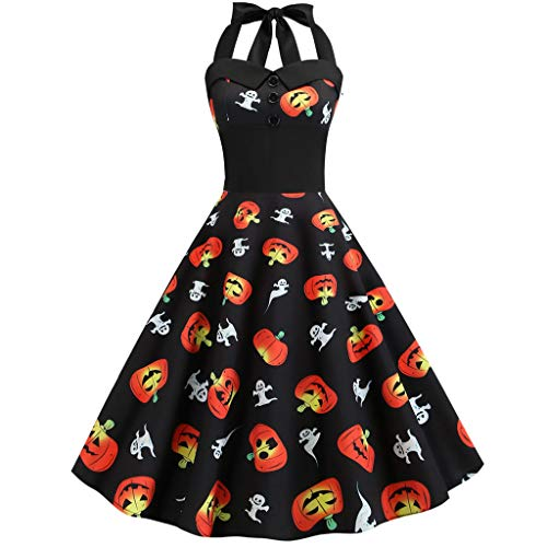 Halloween Women's Vintage Halter Dress Retro Rockabilly Cocktail Swing Tea Dresses(Black,Small)