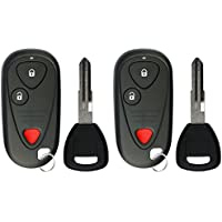 KeylessOption Keyless Entry Car Remote Fob With Uncut Ignition Transponder Key Replacement For E4EG8D-444H-A (Pack of 2)