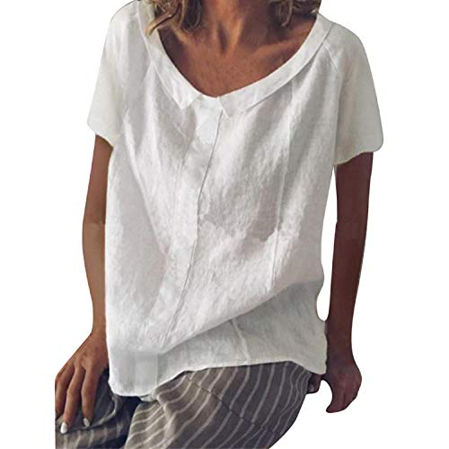 Women's Cotton Linen Tops Solid O-Neck Short Sleeve Retro Chinese Frog Button Blouse Casual Loose T Shirt White