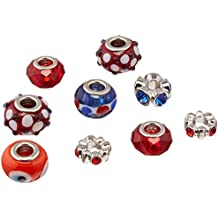 Darice Mix and Mingle Glass Lined Metal Beads, Red/White/Blue