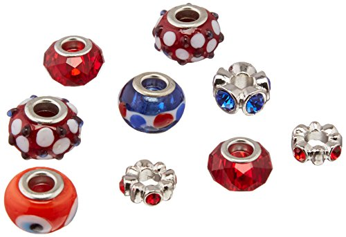 Darice Mix and Mingle Glass Lined Metal Beads, - Red Blue Mix