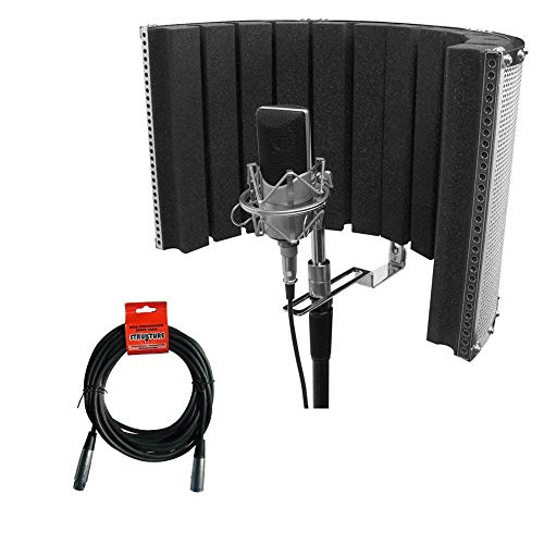 On-Stage ASMS4730 Isolation Shield and Stand-Mounted Acoustic Enclosure (18.5 x 12) with 20' XLR-XLR Cable -