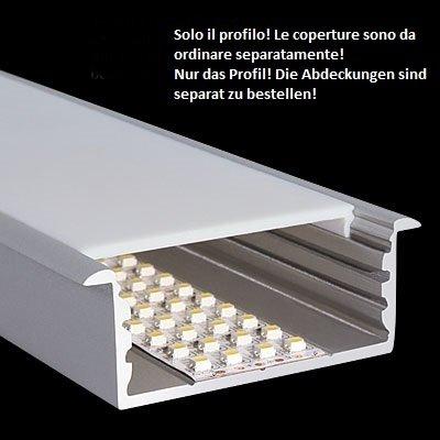 Profilo Largo In Alluminio Da Incasso Per Striscia Led 72x26 5mm L