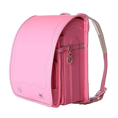 SK Studio Girls' Pu Leather Casual Travel Shoulder School Backpack Pink