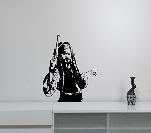Captain Jack Sparrow Vinyl Decal Removable Sticker Pirates of the Carribean Wall Art Decorations for Home Room Bedroom Movie Decor - Amazon Depp Johnny Glasses