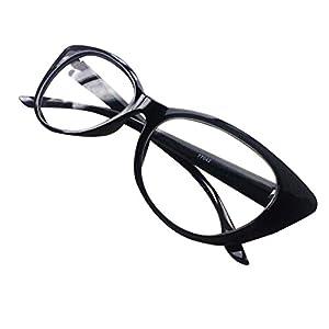 Aimeart Retro Vintage Women's Eyeglasses Cat Eye Glasses Plastic Frame NO LENS, Black