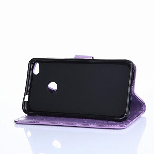 Yiizy Huawei P8 Lite (2017) / Honor 8 Lite Custodia Cover, Erba Fiore Design Premium PU Leather Slim Flip Wallet Cover Bumper Protective Shell Pouch with Media Kickstand Card Slots (Chiaro Porpora)