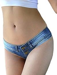 Naliha Women's Thong Jean Shorts Low Waist Pants Short Jeans Denim Mini Hot Shorts