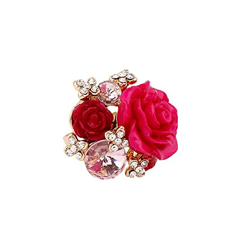 Women's Rose Gold Plated Flower Rings Colorful Crystal Statement Rings Wedding Band Engagement Ring Flower Cocktail Adjustable Ring