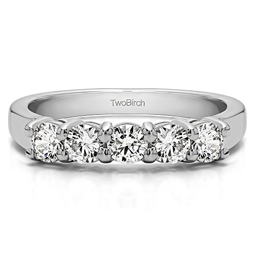Prong Shared (Sterling Silver CZ 1 CT Five Stone Shared Prong U Set Wedding Band(Size 3 To 15 1/4 Size Interval))