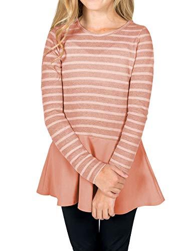 GRAPENT Girls Casual Stripe Knit Top Long Sleeve Ruffle Hem Tunic Blouse 4-13 Years