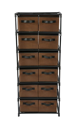 Home-Like 12-Drawer Chest Fabric Dresser 6 Tier Storage Organizer Chest of Drawers Tower Storage Unit Metal Shelf with 12 Removable Fabric Bins Ideal for Home Office Dorm Bedroom Nursery (Brown) (Drawers Chest Storage)