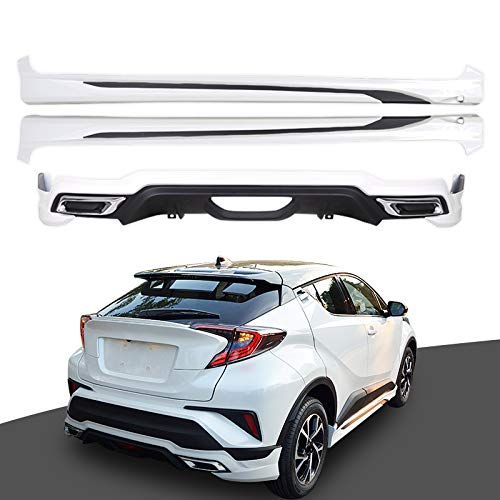 Suv Body Kits - White Side Skirt + Rear Bumper Spoiler Fit for Toyota C-HR CHR SUV Body Kits 18+