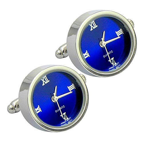 Daptsy Men's Round Shape Plain Cufflinks Watch Function Elegant Fashion Blue Bullet Cufflinks from Daptsy