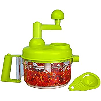 Manual Vegetable Cutter Food Processor 8 in 1 - Chopper, Mixer, Blender, Whipper, Egg Separator, Mincer, Grinder, Dicer with Clear Container 1200ml by Valuetools BPA Free