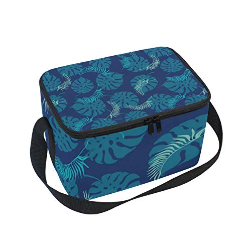Blue Deep Sea Tropical Leaves Adult Lunch Box Lunch Insulated Bag Large Cooler Tote Bag for Men And Women Large Soft Cooler Insulated Picnic Bag