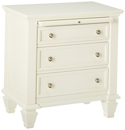 Antique White Wood Nightstand (Coaster Nightstand with Pull Out Tray in White Finish)