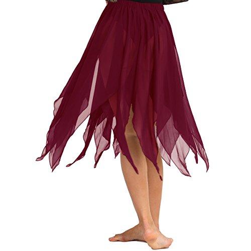 Bain Jazz Femme Jupe Jupe de t Jupe Ballet Jupe Tutu Classique Freebily de Asymtrique Plage de Mousseline Danse Salsa Chaca Bordeaux Latine 4wFqUgEn0
