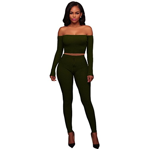 Army Of Two Outfit (Sexy Off the Should Long Sleeve Crop Top with High Waist Long Pants 2 Piece Outfits Clubwear Army Green L)