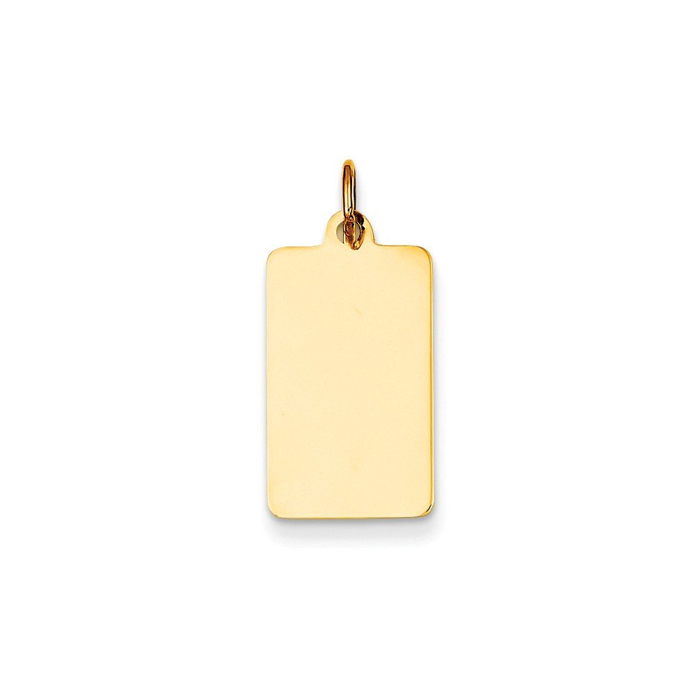 14k Yellow Gold Plain Rectangular Engravable Disc Charm 0.9IN long x 0.4IN wide