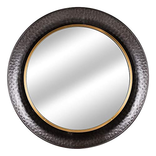 American Art Decor Round Gold Concave Silver Metal Wall Vanity Mirror - Antique Brown A/n Modern Contemporary Oriental Hooks Included