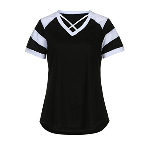 Criss Neck T Patchwork Short Tees Blouse Black Casual Women's Tops Cross Sleeve Quistal Front Shirt V wRnf4qx1g