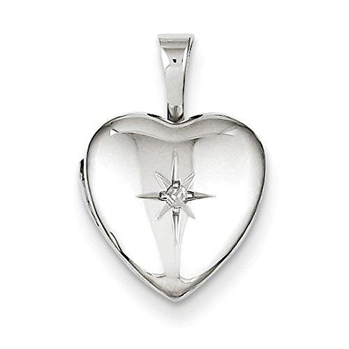 12mm Diamond Star Design Heart Shaped Locket in Sterling Silver -