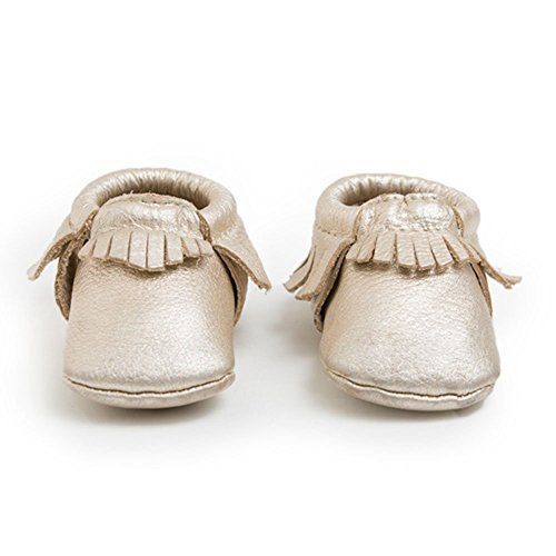 Freshly Picked Soft Sole Leather Baby Moccasins - Platinum - Size 7