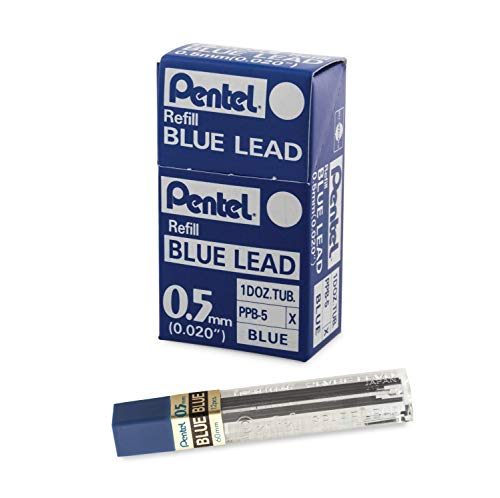 Pentel Refill Lead Blue (0.5mm) Medium 12 Pcs/Tube, 12 Tubes of Lead (PPB-5)