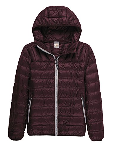 CHERRY CHICK Light Weight Down Puffer Hooded Unisex Jacket (2XL, Unisex Burgundy)