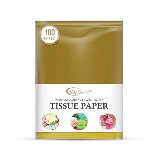 (ShipGuard Antique Gold Tissue Paper for Gift Bags Wrapping, Packing, Birthday Party, Festival, DIY Art Crafts, Pom Pom, Christmas and Holidays. Bulk 100 Sheets - 15 x 20 Inches )