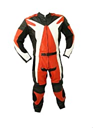Perrini 2pc Motorcycle Riding Racing Leather Suit w/ Hard Padding & Armor New Track Suit