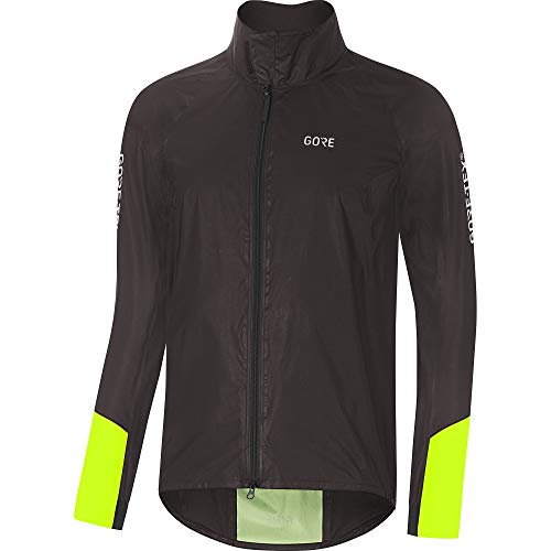 GORE Wear C5 Men's Cycling Jacket GORE-TEX SHAKEDRY, L, Black/Neon Yellow