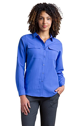(ExOfficio Women's Rotova Long Sleeve, Capri Blue, Large)