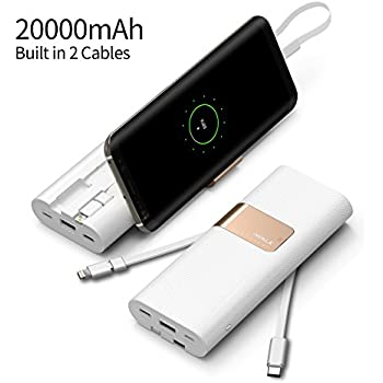 iWALK Quick Charge Power Bank 20000mAh with Built in USB Type C, Lightning, & Micro USB Cable , Compatible with QC2.0/3.0 , for iPhone 7 Plus 6S 6 Plus iPad,Samsung Galaxy S8 S7 S6 S5 Note, White
