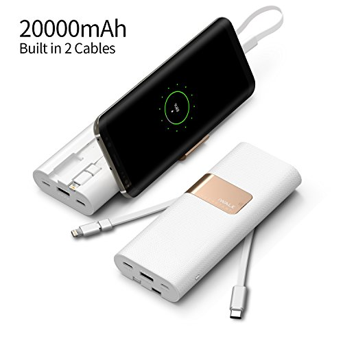iWALK 20000mAh Power Bank Quick Charge QC3.0/2.0 Built-in Type-C & Micro USB Cables, Portable Charger External Battery Pack Compatible with iPhone XS X 8 7 6 5 SE Plus,Samsung S9/S8/S7 and More(Whit
