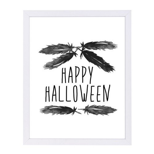 Americanflat Happy Halloween Feather Art White Frame Print by Jetty Printables, 9
