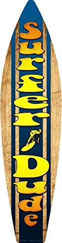 Surf Sign Dude Surfer (Smart Blonde Surfer Dude Metal Novelty Surf Board Sign SB-054)
