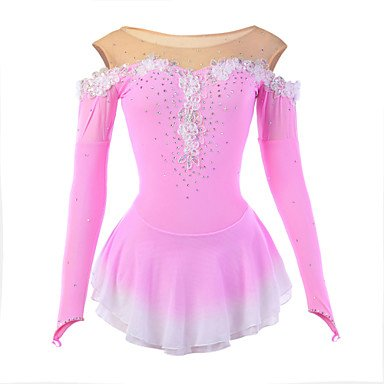 Skating Queen Ice Skating Dress for Girls, Figure Skating Competition Costume Applique Cystals Long Sleeved Skating Dress Pink, child 8 ()