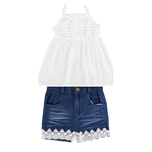 Lankey 2pcs Toddler Baby Girls T-Shirt Dress+Jeans Pants Clothes Outfits Set