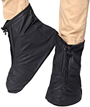 FixWhat Waterproof Motorcycle Bike Shoes Covers,Reusable Anti-Slip Rain Snow Shoes Overshoes Gear Zipped Shoes