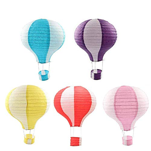 """Hot Air Balloon Paper Lantern 12"""",Reusable Party Ball Lamp Decoration, Hanging Pom Poms Party Supplies for Birthday Wedding Christmas Party Decor Gift-5 Pieces from Aqumax"""