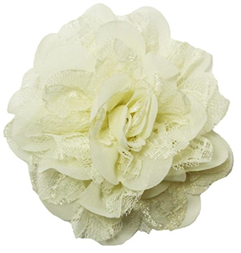 Wholesale Princess Chiffon Fabric and Lace Flower Hair Clip-Ivory
